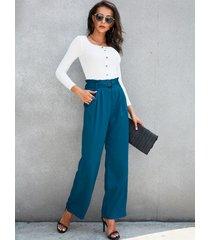 yoins blue belt design side pockets design pants