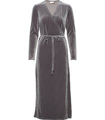 kaviola wrap dress knälång klänning grå kaffe