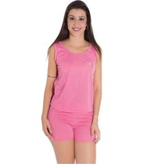 baby doll vip lingerie malha pv lisa - rosa