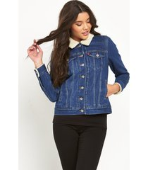 levi's women's boyfriend casual sherpa trucker jacket sherpa-0002 dark blue