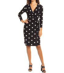 anne klein dot print long sleeve wrap dress, size large in anne black/anne white at nordstrom