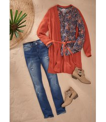 maglia lunga fantasia a maniche lunghe (arancione) - john baner jeanswear