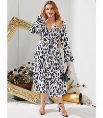yoins plus talla abrigo de leopardo con cuello en v diseño cinturón diseño maxi de manga larga vestido