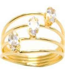 anel kumbayá 4 fios banho de ouro 18k com 3 zirconias - feminino