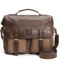 men's frye ethan canvas & leather briefcase - brown