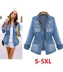 autumn new fashion women slim long sleeve denim coat jacket ladies fashion tops