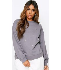 pearl embesllished acid wash sweater, grey