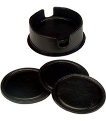 royce new york set of round coasters in leather case