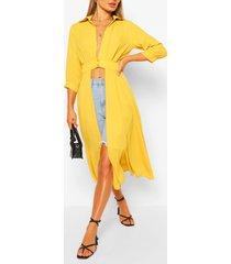 geweven maxi blouse met knopen, geel