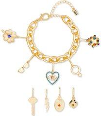 steve madden crystal interchangeable charm bracelet gift set