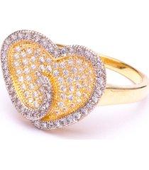 anel boca santa coração apaixonado - ouro amarelo