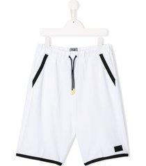 il gufo teen panelled bermuda shorts - white
