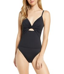women's la blanca twist keyhole one-piece swimsuit, size 14 - black