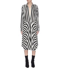 pleated flared stripe shirt dress