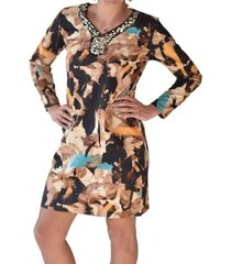 vestido estampado geometrico naranjo alexandra cid