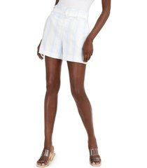 inc striped belted linen shorts, created for macy's