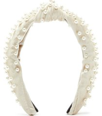 faux 'pearl embellished velvet knotted headband