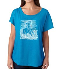la pop art women's dolman cut word art shirt - popular horse breeds