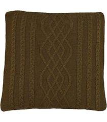 capa almofada tricot 40x40cm c/zãper sofa trico cod 1026 marron - marrom - feminino - dafiti