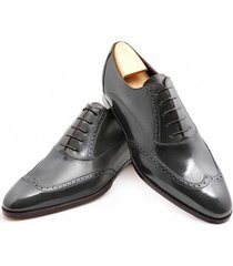 handmade men wingtip brogue formal shoes, men black leather dress shoes