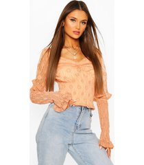 lace shirred puff sleeve top, apricot