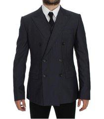 slim fit wool silk blazer