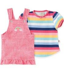 conjunto salopete malha confort e camiseta manga curta pingo arco-íris