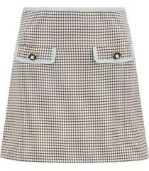 self-portrait monochrome check mini skirt