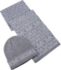 women's michael kors metallic logo beanie & scarf set, size one size - grey