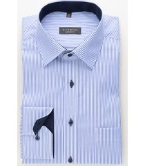 eterna heren overhemd twill modern kent borstzak comfort fit gestreept blauw