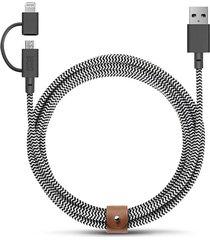 belt twin head micro-usb to lightning charging cable - zebra