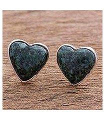 dark green jade heart earrings, 'love sacred' (guatemala)