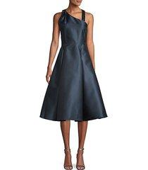 embellished asymmetrical fit-&-flare dress