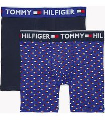 tommy hilfiger men's bold cotton boxer brief 2pk navy blazer/true blue flag print - xl