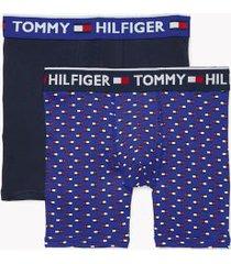 tommy hilfiger men's bold cotton boxer brief 2pk navy blazer/true blue flag print - s