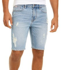 "guess men's slim-fit ripped denim 10"" shorts"
