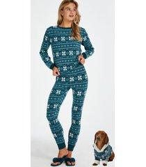 hunkemöller pyjamasset fleece blå