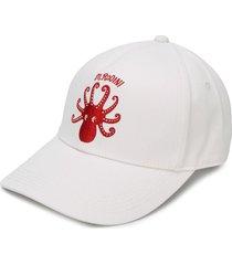 mini rodini octopus embroidered baseball cap - white