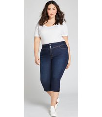 lane bryant women's signature fit high-rise 3-button pedal jegging - dark wash 24 dark denim