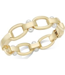 alfani gold-tone link & imitation pearl bangle bracelet, created for macy's