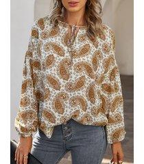 camicetta da donna con stampa floreale a maniche lunghe con scollo a o annodato
