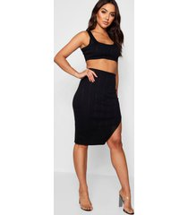 bandage skirt and crop top co-ord set, black