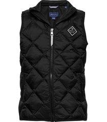 d1. diamond puffer vest gevoerd vest zwart gant