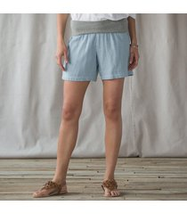 roll top cotton shorts