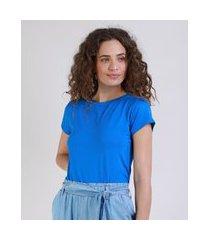 blusa feminina básica com botões manga curta decote redondo azul royal