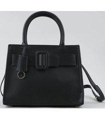 bolsa feminina tote média com fivela e alça transversal removível preta