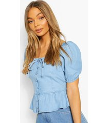 button front frill denim top, light blue