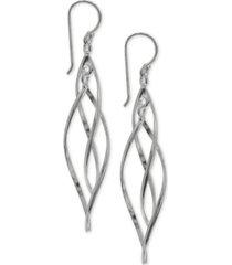 giani bernini pointed twist drop earrings in sterling silver, created for macy's