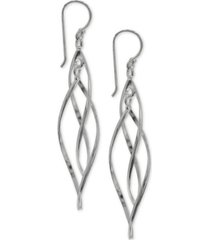giani bernini pointed twist drop earrings in sterling silver, created for macy's