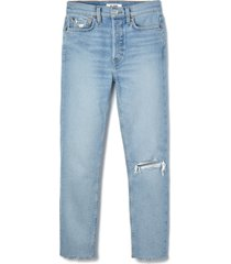 women's re/done '90s high waist tapered skinny jeans, size 30 - blue